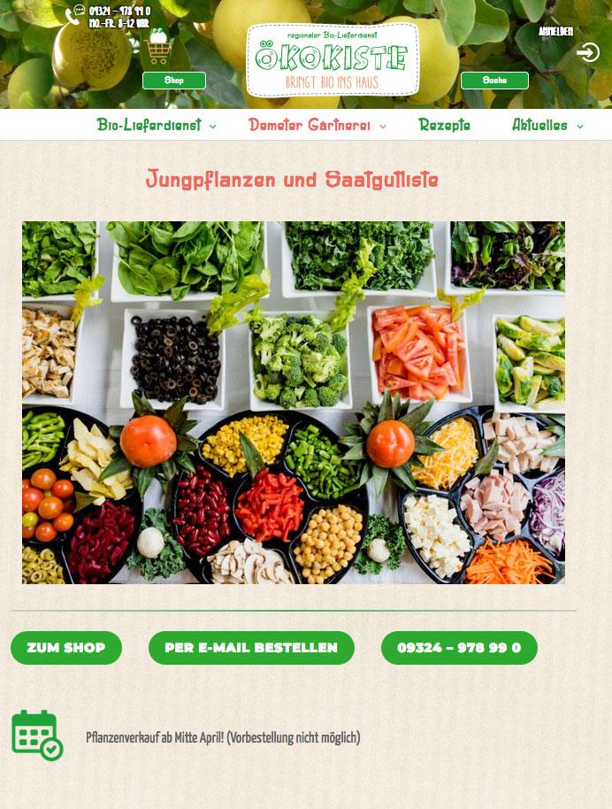 Jungpflanzen und Saatgutliste